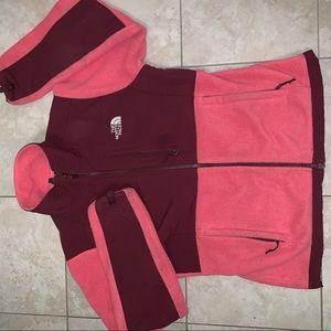 Pink women's fleece north face jacket
